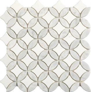 "Thassos & Carrara Superellipse Mosaic (12""x12"" Sheet)"