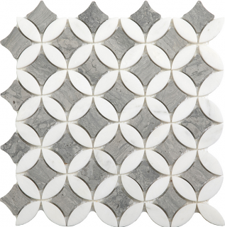 "Wooden Silver & Paper White Superellipse Mosaic (12""x12"" Sheet)"