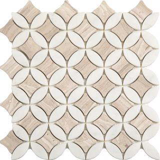 "Wooden White & Paper White Superellipse Mosaic (12""x12"" Sheet)"