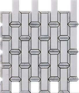 "Marble Blends - Thassos & Carrara Frame Framed Brick Mosaic (11.8""x11.2"" Sheet)"