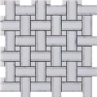 "Marble Blends - Thassos & Carrara Frame Basketweave Mosaic (12""x12"" Sheet)"