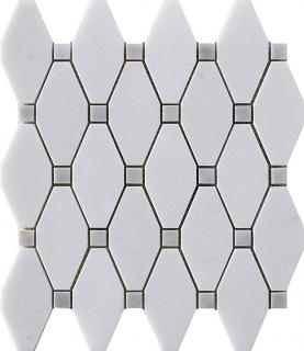"""Marble Blends - Thassos & Carrara Frame Elongated Hexagon Mosaic (11.2""""x10.3"""" Sheet)"""