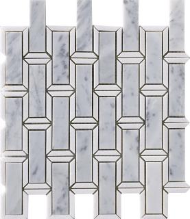"Marble Blends - Carrara & Thassos Frame Framed Brick Mosaic (11.8""x11.2"" Sheet)"