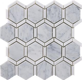 """Marble Blends - Carrara & Thassos Frame Framed Hexagon Mosaic (12""""x12"""" Sheet)"""