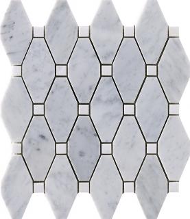 """Marble Blends - Carrara & Thassos Frame Elongated Hexagon Mosaic (11.2""""x10.3"""" Sheet)"""