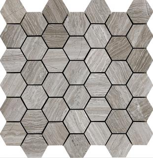 "Wooden White Hexagon Mosaic Tile (12""x11.7"" Sheet)"