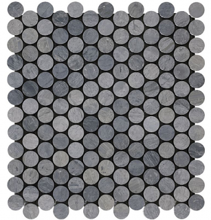 """Wooden Silver Penny Round Mosaic Tile (12.2""""x12.4"""" Sheet)"""