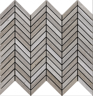 "Wooden White Chevron Mosaic Tile (12.5""x12.2"" Sheet)"