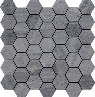"Wooden Silver Hexagon Mosaic Tile (12""x11.7"" Sheet)"
