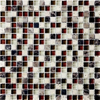 "Anatolia - 5/8""x5/8"" Bliss Cabernet Glass Stone Blend Mosaic Tile 35-005"