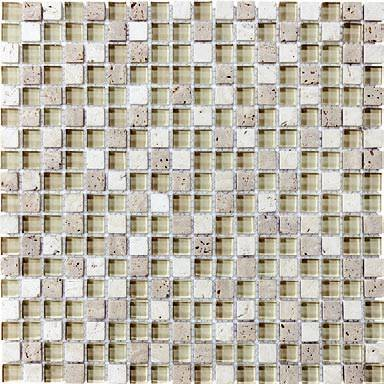 "Anatolia - 5/8""x5/8"" Bliss Creme Brulee Glass Stone Blend Mosaic Tile 35-006"
