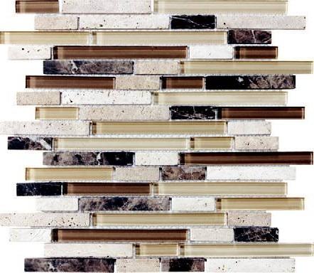 Anatolia - Bliss Cappucinno Glass Stone Linear Blend Mosaic Tile 35-010