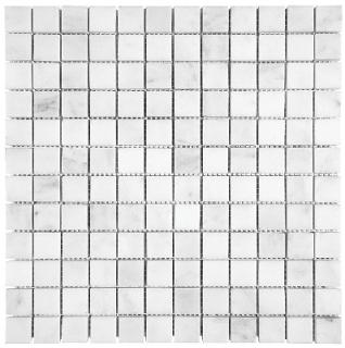 "1""x1"" Bianco Venatino Honed Marble Mosaic Tile 76-016"