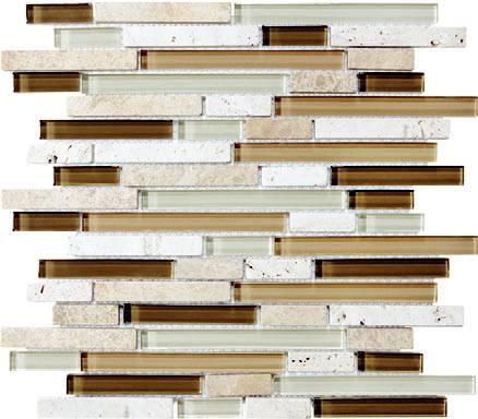 Anatolia - Bliss Bamboo Glass Stone Linear Blend Mosaic Tile 35-011