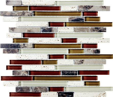 Anatolia - Bliss Cabernet Glass Stone Linear Blend Mosaic Tile 35-013