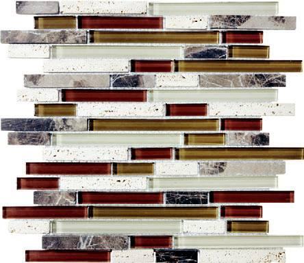 Anatolia - Bliss Cabernet Glass Stone Linear Blend Mosaic Tile 35-013