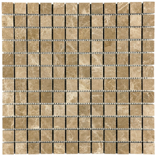 "1""x1"" Emperador Light Honed Marble Mosaic Tile 76-018"