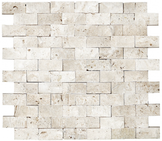 "1""x2"" Split Face Ivory Travertine Mosaic Tile 76-044"