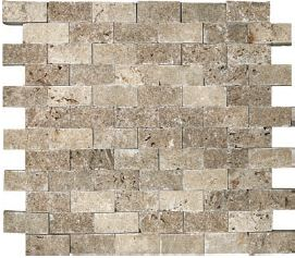 "1""x2"" Noce Travertine Split Face Mosaic Tile 76-045"