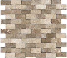 """1""""x2"""" Honed Cubics Noce Travertine Mosaic Tile 76-057"""