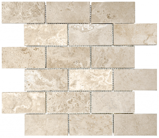 "2""x4"" Ivory Travertine Filled & Honed Mosaic Tile 76-340"