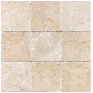 "4""x4"" Berkshire Crema Tumbled Marble Tile 72-000"