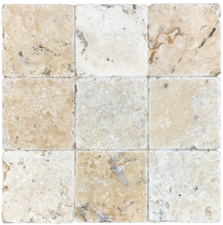 "Anatolia - 4""x4"" Picasso Travertine Tumbled Tile 73-008"