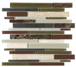 "Bliss - Deep Grotto Linear Strip Mosaic (12""x12"" sheet)"